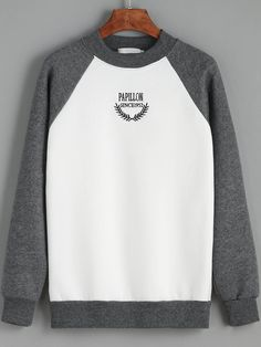 Colour-block Round Neck Letters Print Sweatshirt   , Register SHEIN to get a FREE GIFT!