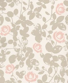 Crispy Roses (395039) - Brewers Wallpapers - A beautiful all over stylised rose vine design with silver metallic weathered leaves and pink flowers. Paste the wall. Please request sample for true colour match.