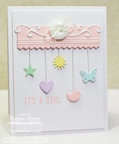 Sweetest Baby Card - Stamp & Scrapbook EXPO What a lovely simply card! Just beautiful! I need some nice smooth cardstock in pastels! Baby Girl Cards, New Baby Cards, Baby Shower Cards, Card Tags, Card Kit, Kids Cards, Scrapbook Cards, Scrapbook Expo, Cool Cards