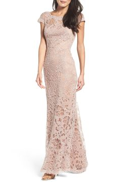 Main Image - Tadashi Shoji Embroidered Lace Gown (Regular & Petite)