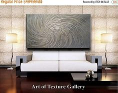 Sale 68 x 40 HUGE Custom Original Abstract Texture Modern Platinum Silver White Floral Metallic Carved Sculpture Knife Oil Painting by Je Hl