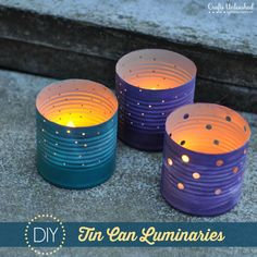 Tin-can-crafts-luminaries-Crafts-Unleashed (uses the new Crop-A-Dile power punches..They will punch through paper, fabric, leather, and metal – and they do it like it's no big thing. They transformed these tins into luminaries in mere minutes.)