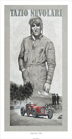 "Targa Florio 1932 – Tazio Nuvolari Alfa Romeo 2300S 8C 11""x 22"" Edition of 25 © Paul Chenard"