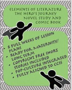 This is a full eight week unit over elements of literature with a focus on The Heros Journey archetype.  With this unit the students will be able to choose a fiction novel and participate in mixed novel literature circles. Students will also create their own graphic novel about a new hero they have designed.