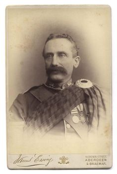"""Unidentified staff sergeant of the 2nd Battalion, Gordon Highlanders. The sergeant wears the 1881 Afghanistan Medal with three clasps, the 1881 gun metal bronze """"Kabul to Kandahar"""" star and a Long Service and Good Conduct Medal. c. 1880's  ༺✿༺  What strikes me the most, is the 'Scottish Cairngorm Brooch' on his left shoulder, could it be  possibly, the same as the antique Cairngorm? ༺✿༺ See attached."""