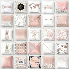 Pink Theme Pillow Cases Soft Comfy Geometric Cushions Covers Bed Sofa Rome Decor – My World Room Decor Bedroom Rose Gold, Rose Gold Rooms, Rose Gold Decor, Bedroom Decor For Teen Girls, Girl Bedroom Designs, Pink Room, Room Ideas Bedroom, Rose Gold Wall Art, Glitter Bedroom