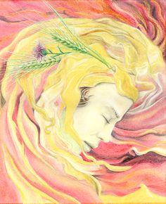 Summer / four season /colour pencil / graphic art illustration
