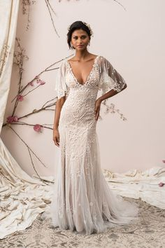 Justin Alexander Signature - Style 9890: Beaded Tulle A-Line Gown with Illusion Flutter Sleeves. Gatsby 20s style bride.