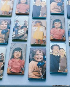 These are chocolate bar favors wrapped with childhood photos of the bride and groom. I think it would be funny to give away custom iphone cases with each persons face. Granted that would be TIME and of course MONEY. but how funny and unique.