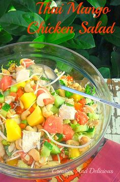 Filling, delicious and refreshing Chicken Salad ! Incl. Watermelon & Cashews! {sub coconut sugar for brown sugar}