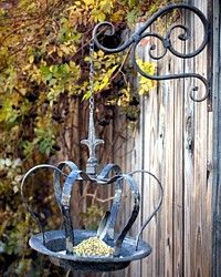 Antiqued Fleamarket Crown Bird Feeder-antique, seed, hang, bracket, iron, patina, aged, garden, porch, patio,