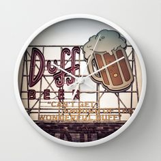 Duff Beer Neon Sign Wall Clock by Edward M. Fielding - $30.00