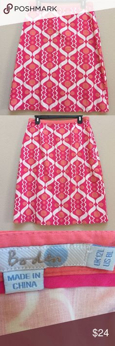 """Boden cotton pink skirt This is a cute and casual Boden skirt. Size 8. Both the outer layer and lining are made from 100% cotton. Machine washable for easy care. Approximate length is just under 25"""" and the waist measurement when laid flat is 15.5"""". There is a zipper at one side of the waist. Excellent condition! Boden Skirts"""