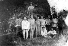 Kalvarija, Lithuania, 1921, A group photograph at a the hachshara training camp, Sukkot, 1921. Kalvarija, Lithuania, 1921, A group photograph in the hachshara traing, Sukkot, 1921. From right to left at top: Batsheva Yashpan, Kadishai Yashpan, Chaim Levit from Dusetos, Chaim Kopelovitz from Uzpaliai, David Shur from Plunge, Chaviva Dagan from Kovno, Moshe Finkel from Utena, Yechiel. Seated: Dov Zingwel from Utena and Yosef Slep from Dusetos. All but Batsheva immigrated to Eretz Israel.