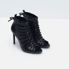 LEATHER HIGH HEEL ANKLE BOOT SANDAL from Zara Bootie Boots, Shoe Boots, Leather High Heel Boots, Online Zara, Shoe Show, Kinds Of Shoes, Sock Shoes, Fashion Boots, Sandals