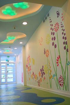 Daycare Design, School Design, Sunday School Rooms, Kindergarten Design, School Murals, School Decorations, Learning Spaces, Kid Spaces, Classroom Decor