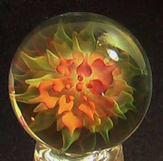 """RPC Marbles Xxlcontemporary Hand Made Glass Marble """"Golden Lotus"""" 