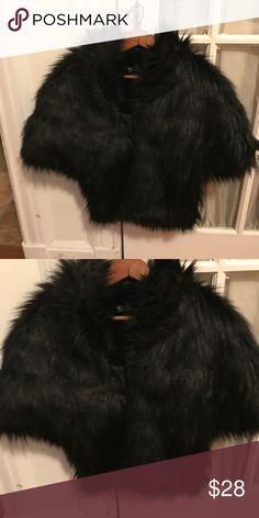 Cynthia Rowley faux fur black cape OSFA black fun, faux fur cape. Cute on, worn casual with jeans. Warm too! Cynthia Rowley Accessories Scarves & Wraps