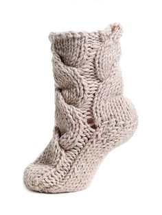 Ravelry: Chunky Cable Socks pattern by The Toft Alpaca Shop These would be great as slippers!