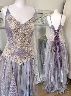 Wedding dress lavender and cream tonesbeach wedding dress