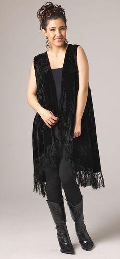 Black Burnt Out Long Velvet Vest: Western Wear | Women Western Clothing | Western Apparel Clothing