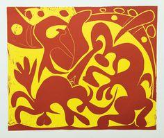 Pablo Picasso - Linocut 1962 - Pique Rouge et Jaune