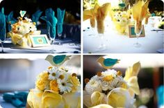 French Bulldog's birdie themed teal and yellow wedding details. Each table was named after a different bird, but also #'d to make seating easy to find. Photos by @KD Eustaquio + david baxter with Ohana Photographers.
