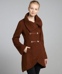 Mackage : spice brown quilted wool blend 'Diana' double breasted coat : style # 320440801