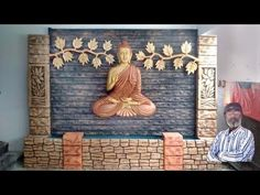 Watercolor Paintings For Beginners, Painting Videos, Mural Art, Wall Murals, Buddha Home Decor, Baby Buddha, Buddha Wall Art, Waterfall Fountain, Partition Design