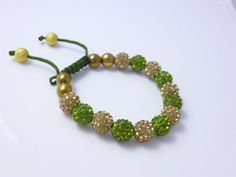 Green and Gold Shamballa Bracelet by Perlizjewelcreations on Etsy