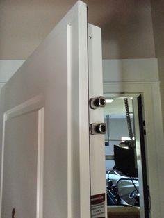 Steel Security Door, Garage to House, MDF panel. Steel Security Doors, Bathroom Medicine Cabinet, Garage, House Design, Home, Carport Garage, House, Homes, Garages
