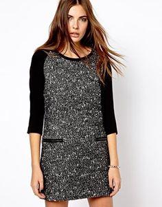 Image 1 ofMango Tweed Zip Pocket Shift Dress
