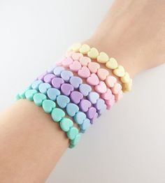 ★Lot of 1 Heart Bracelet★ O(≧▽≦)O These bracelets are SO cute! They are perfect for any fairy kei or lolita outfit. Its made from pastel chibi heart