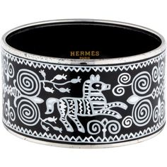 Pre-owned Hermes Extra Wide Enamel Bracelet (€525) ❤ liked on Polyvore featuring jewelry, bracelets, preowned jewelry, hermès, hermes jewelry, hermes bangle and pre owned jewelry