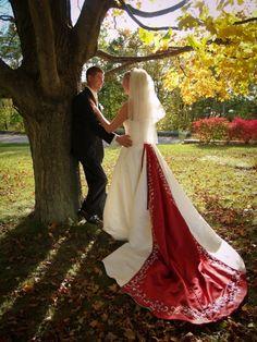 Manistee Wedding - Bridal Portraits - Multi-Color Wedding Dress - Fall Wedding  www.rozmarekphotography.com
