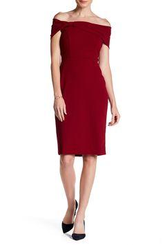 Off-the-Shoulder Crepe Back Scuba Dress