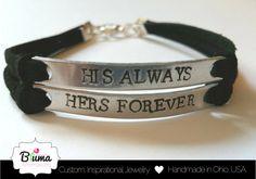 Custom Couples Bracelet, His Always Hers Forever, Hand Stamped His and Hers Bracelet, Couples Jewelry, Anniversary Jewelry