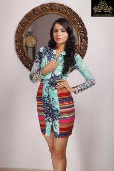 Add a splash of Aqua to your dress this summer! #FashionDesigner #PawanSachdeva