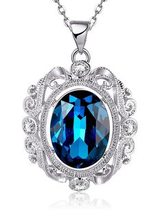 PMANY Dark Blue Sapphire Necklace Pendant Necklace Retro Gemstone CZ Jewelry *** Remarkable product available now. : Fashion Jewelry