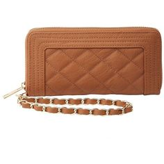 Charlotte Russe Quilted Wristlet Wallet ($11) ❤ liked on Polyvore featuring bags, wallets, brown, vegan bags, vegan wallet, quilted chain bag, accordion wallet and wristlet wallets