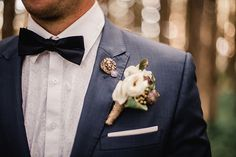 Navy Suit & Boutonniere Pin