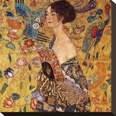 Woman with fan-Gustav Klimt-Art Print Painting Edges, Painting Prints, Art Prints, Art Klimt, Ouvrages D'art, Art Moderne, Personalized Wall Art, Stretched Canvas Prints, Illustrations
