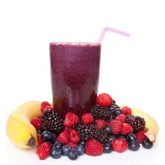 Anti-Cancer Banana Berry Breakfast Shake  Makes 2 servings     1 medium banana, sliced into chunks and frozen    1/4 cup fresh or frozen unsweetened blueberries    1/4 cup fresh or frozen unsweetened raspberries    1-1/2 cups low-fat (1%) milk    1/2 tsp vanilla extract    1/4 tsp almond extract    Pinch of ground cinnamon