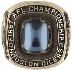Houston Oilers 1960 AFL championship ring Houston Nfl, Houston Oilers, Houston Rockets, Titans Football, Football Cards, Nfl Football, Nfl Championship Rings, American Football League, Association Football