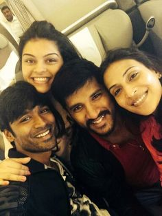 Dhanush and Ashwariya with their friends