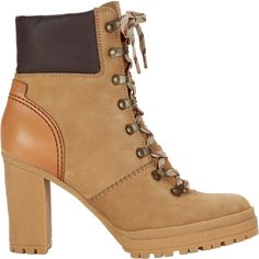 Claudia Lace-Up Hiker Booties (6,970 MXN) ❤ liked on Polyvore featuring shoes, boots, ankle booties, lace up booties, lace up ankle booties, chunky heel platform boots, high heel booties and leather high heel boots