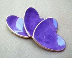 THREE itty bitty Purple Heart Ring Bowls 2 1/2 inches by dgordon