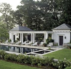 Bridgewater, Connecticut - White pillars and wood. Elegant with the pool and two. - Bridgewater, Connecticut – White pillars and wood. Elegant with the pool and two side buildings. Outdoor Rooms, Outdoor Living, Outdoor Furniture, House Furniture, Pool House Designs, Pool Cabana, Dream Pools, Pool Landscaping, Exterior Design