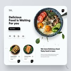 Landing Page Inspiration, Ui Design Inspiration, User Interface Design, Ui Ux Design, Web Layout, Layout Design, Wordpress Blog, Chicken Slices, Yummy Food