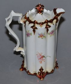 """9"""" UNMARKED PRUSSIA FOUR FOOTED CHOCOLATE POT - 4"""